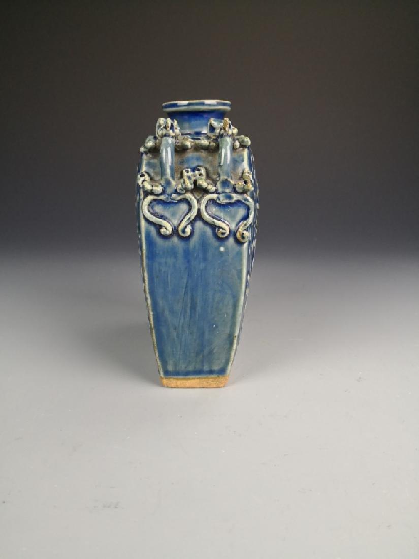 Chinese Blue Glazed Phoenix Vase - 2