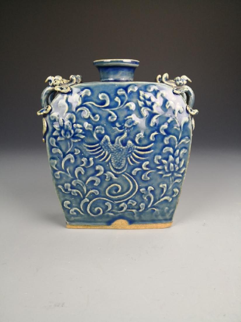 Chinese Blue Glazed Phoenix Vase - 3