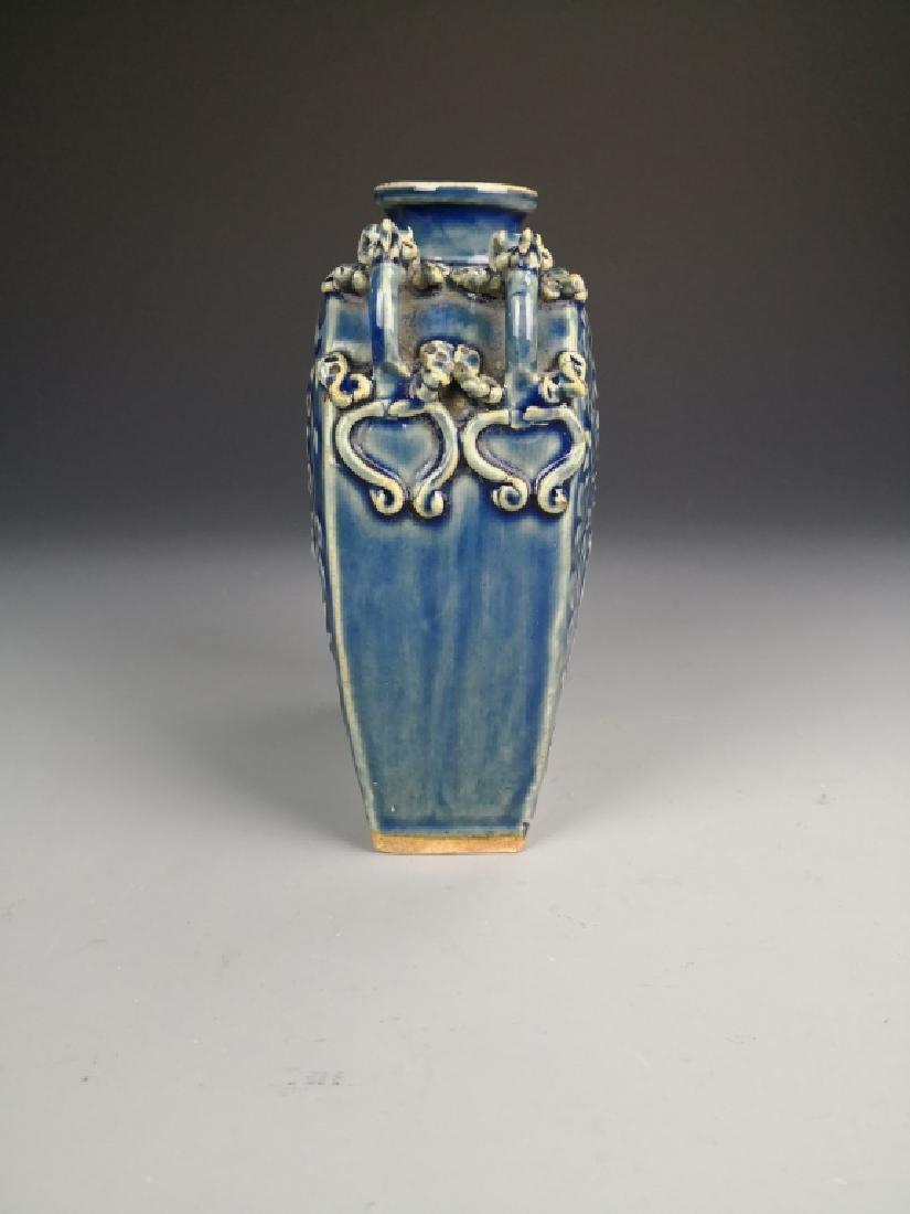 Chinese Blue Glazed Phoenix Vase - 4