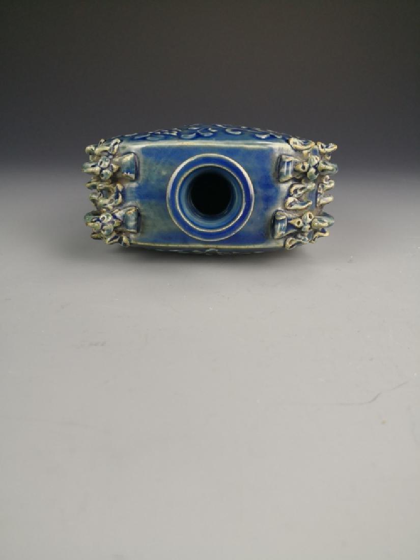 Chinese Blue Glazed Phoenix Vase - 7