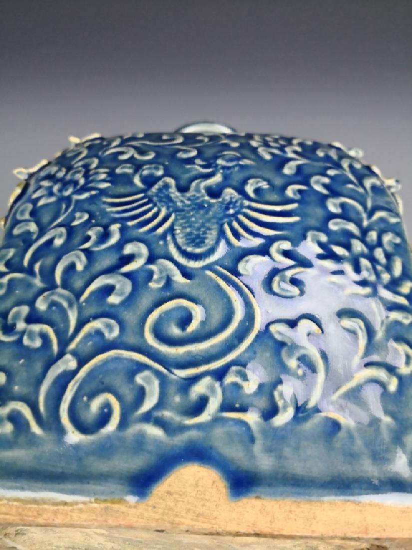Chinese Blue Glazed Phoenix Vase - 8