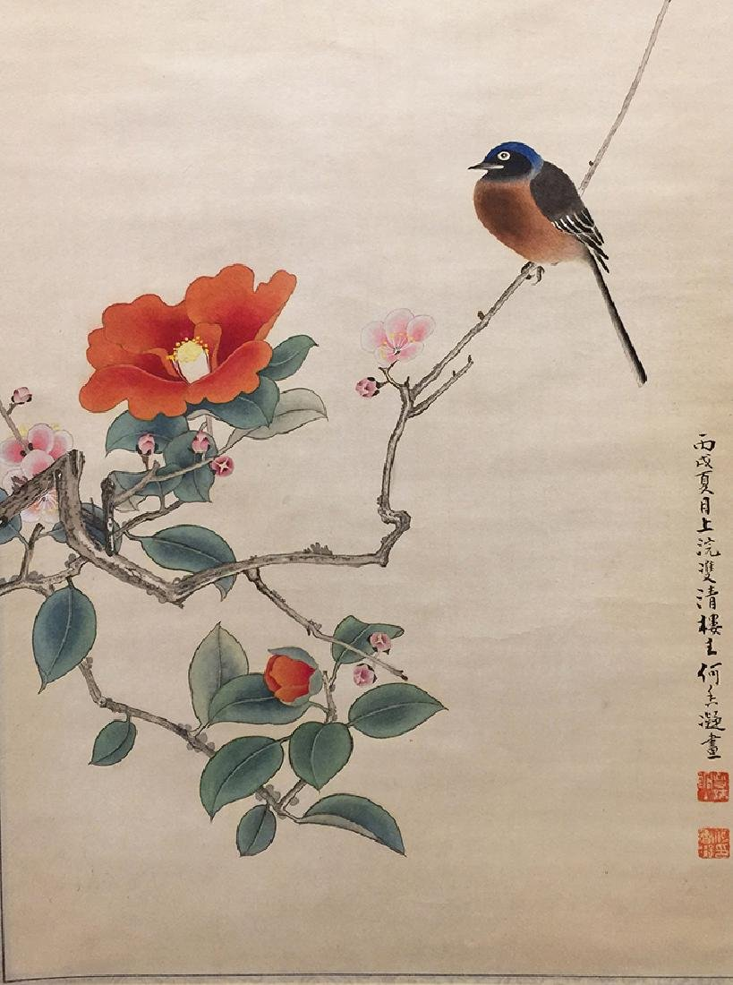 Chinese Scroll Painting of Bird and Flowers - 5