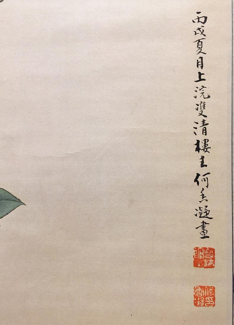 Chinese Scroll Painting of Bird and Flowers - 6