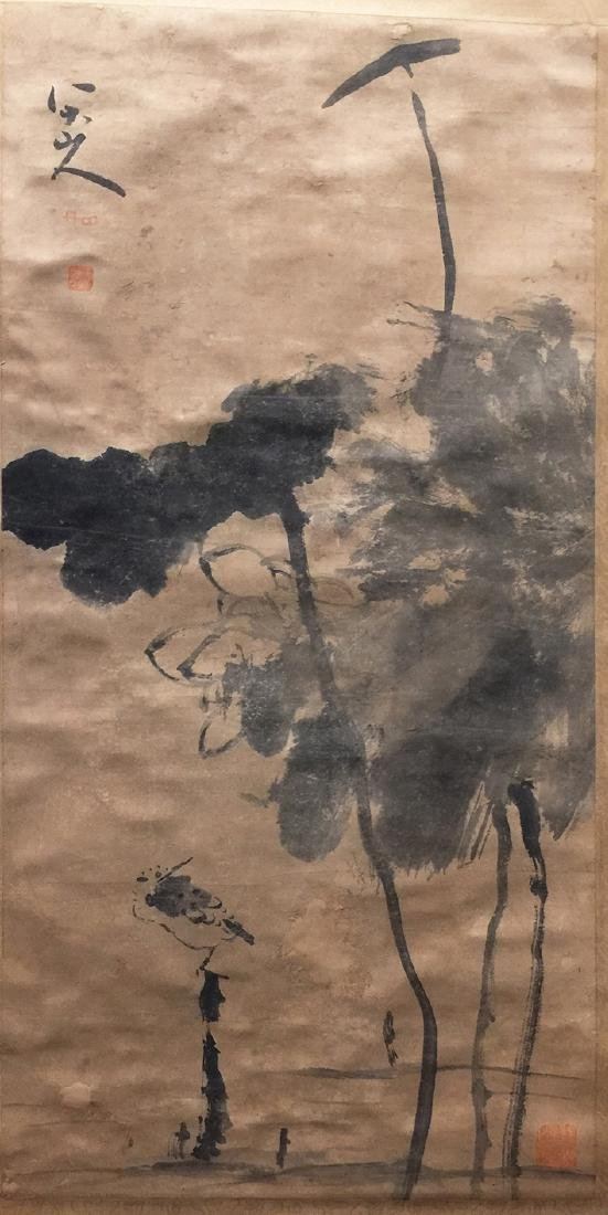 Chinese Scroll Painting,Lotus Leaf Figure for Fish Play