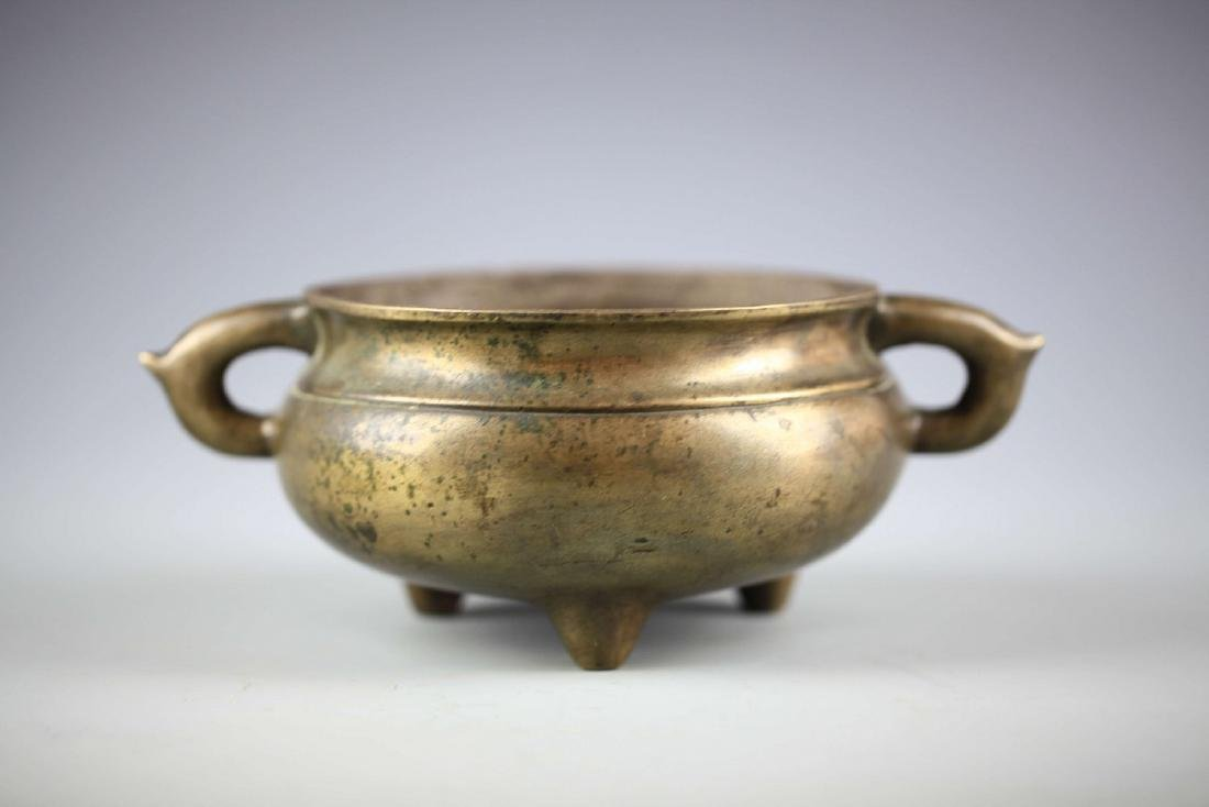 China, Bronze Gilt-splashed Tripod Censer, Xuande Mark