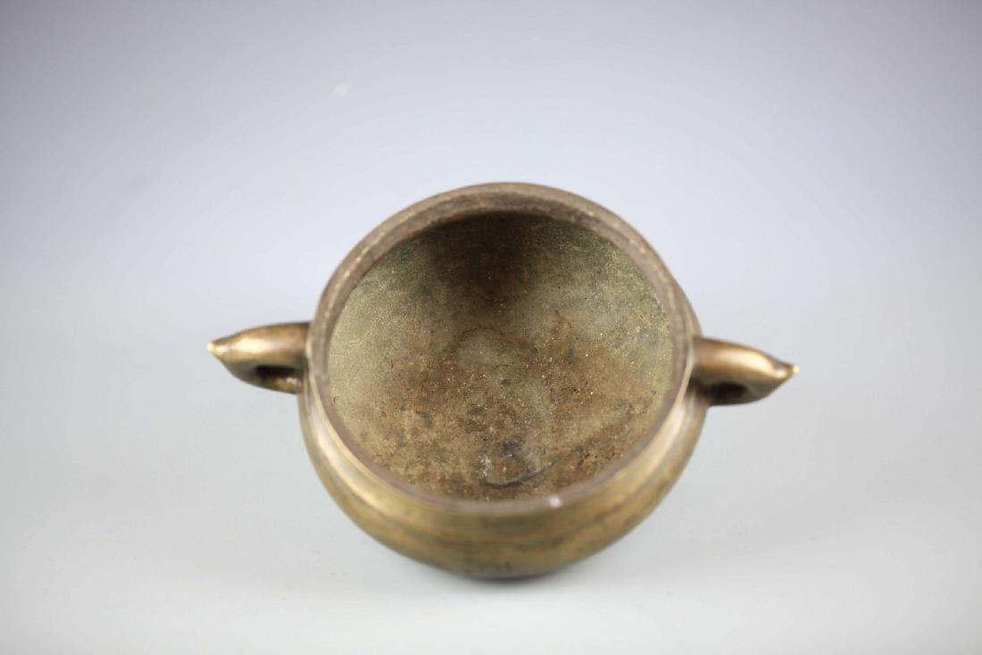 China, Bronze Gilt-splashed Tripod Censer, Xuande Mark - 3