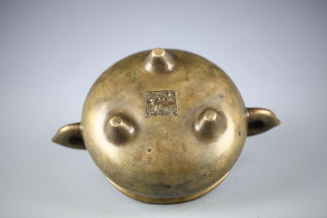 China, Bronze Gilt-splashed Tripod Censer, Xuande Mark - 4