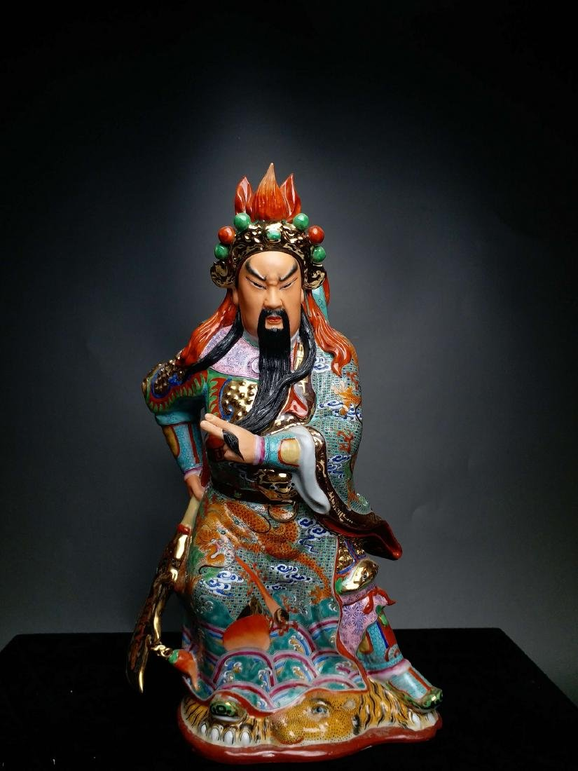 China, Famille-Rose,statue of GuanGong