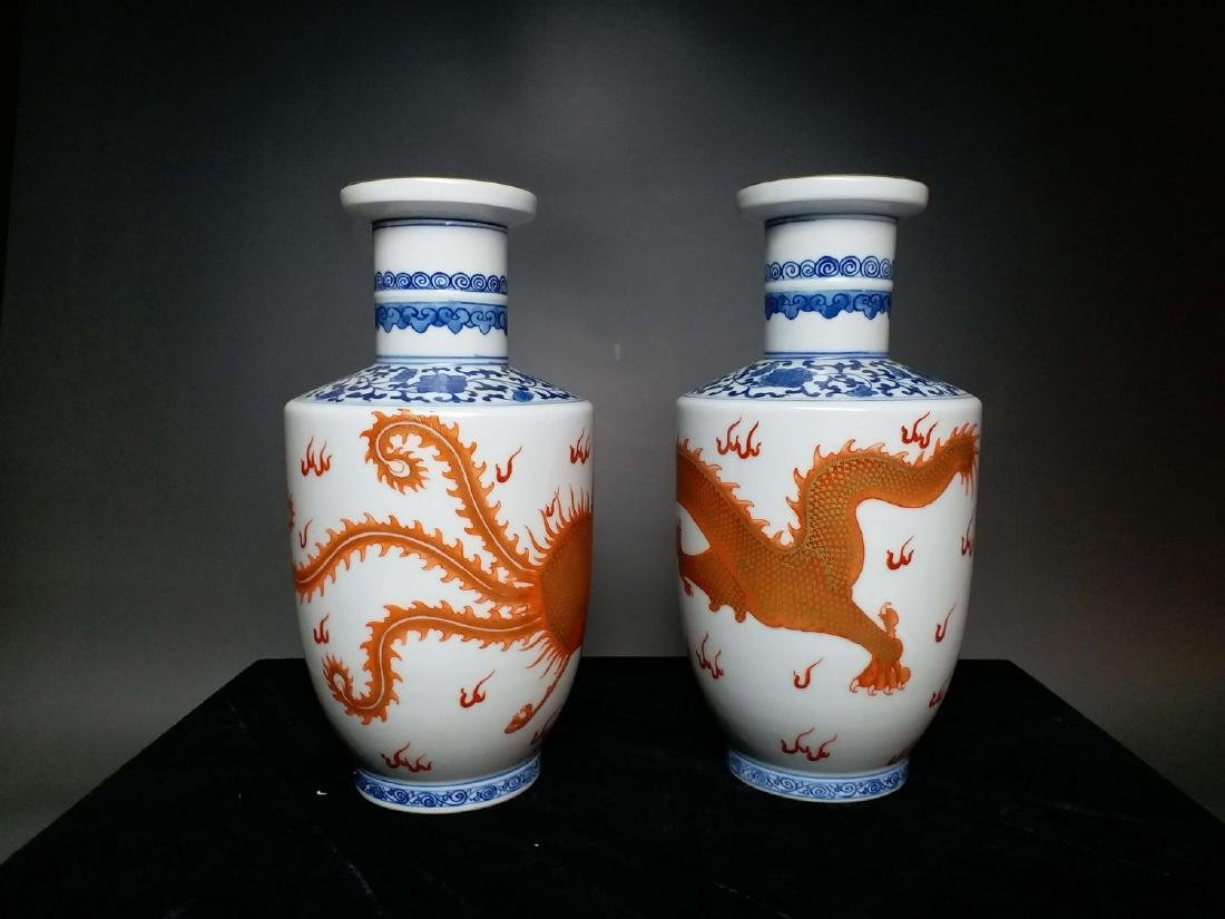 China,Blue and White, blue and white Vitriol red dragon - 10