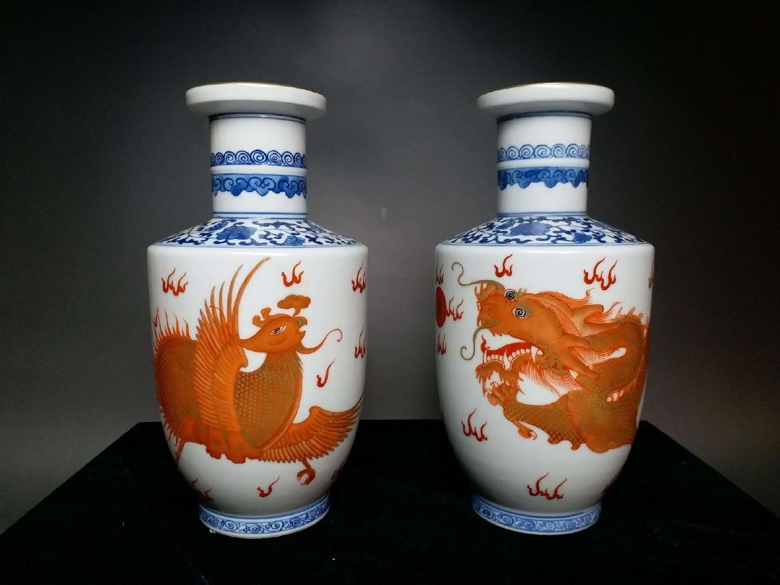 China,Blue and White, blue and white Vitriol red dragon