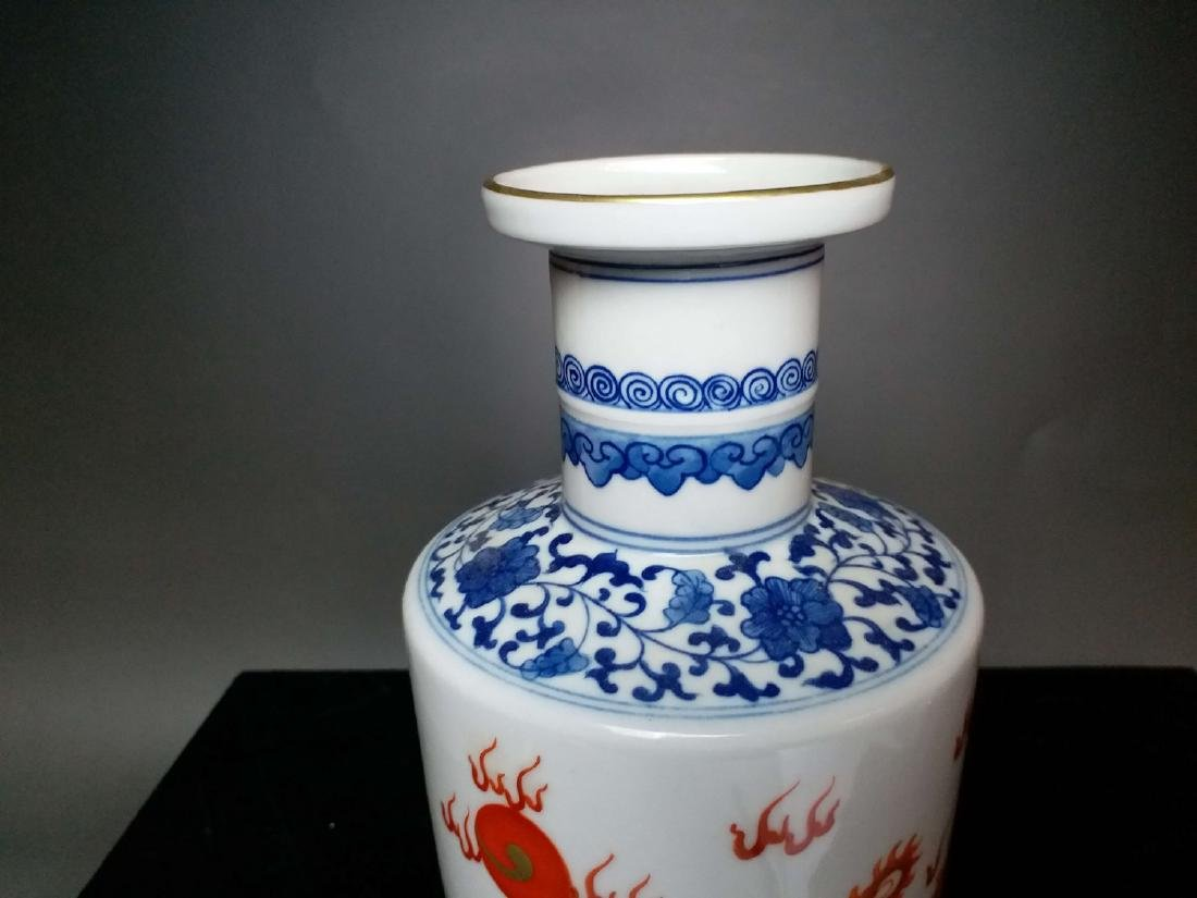 China,Blue and White, blue and white Vitriol red dragon - 5
