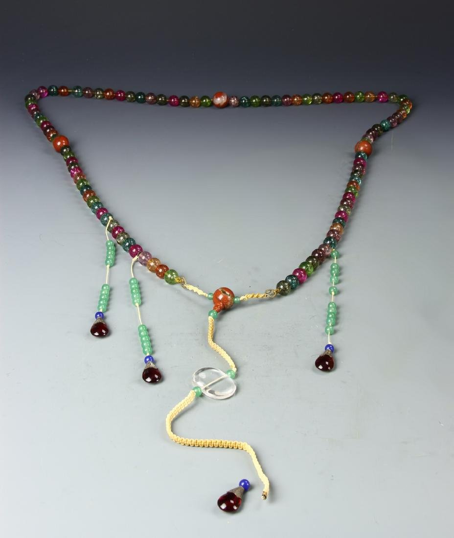 Chinese Glass Beaded Court Necklace