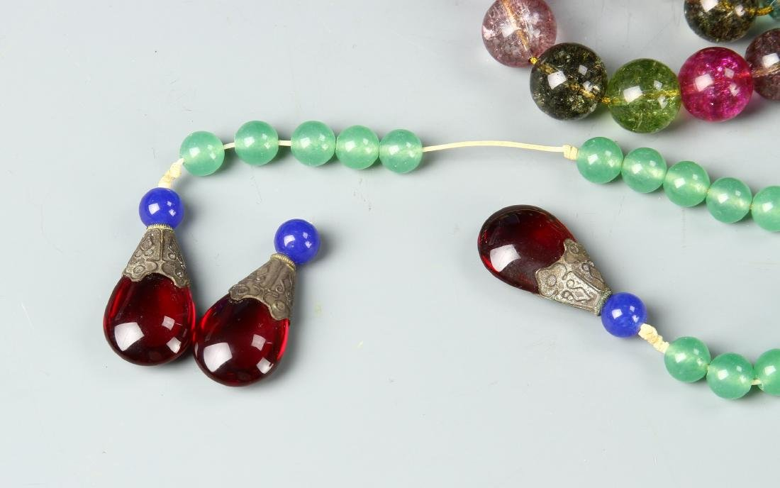 Chinese Glass Beaded Court Necklace - 3