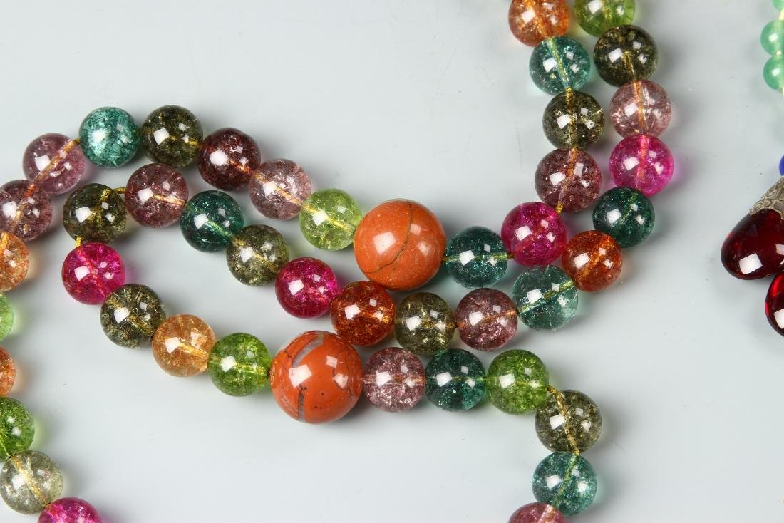 Chinese Glass Beaded Court Necklace - 4