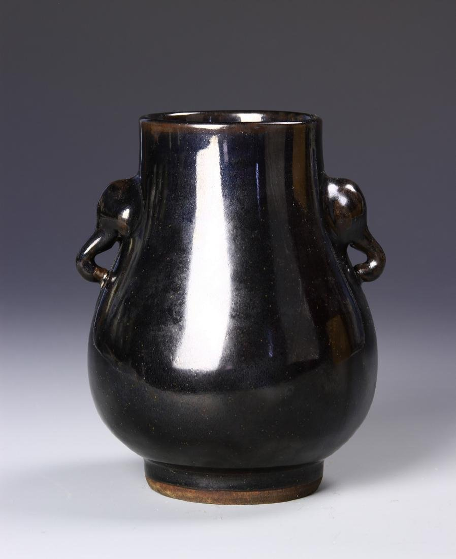 Chinese Black Glaze Elephant Vase