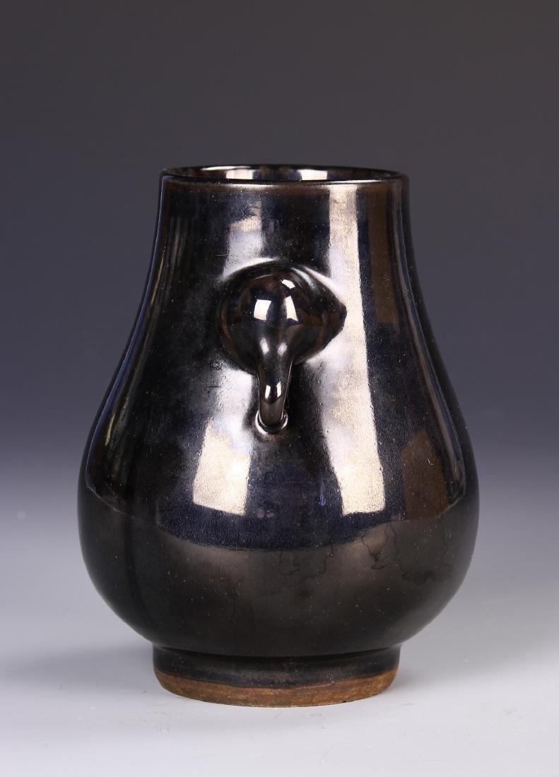 Chinese Black Glaze Elephant Vase - 2