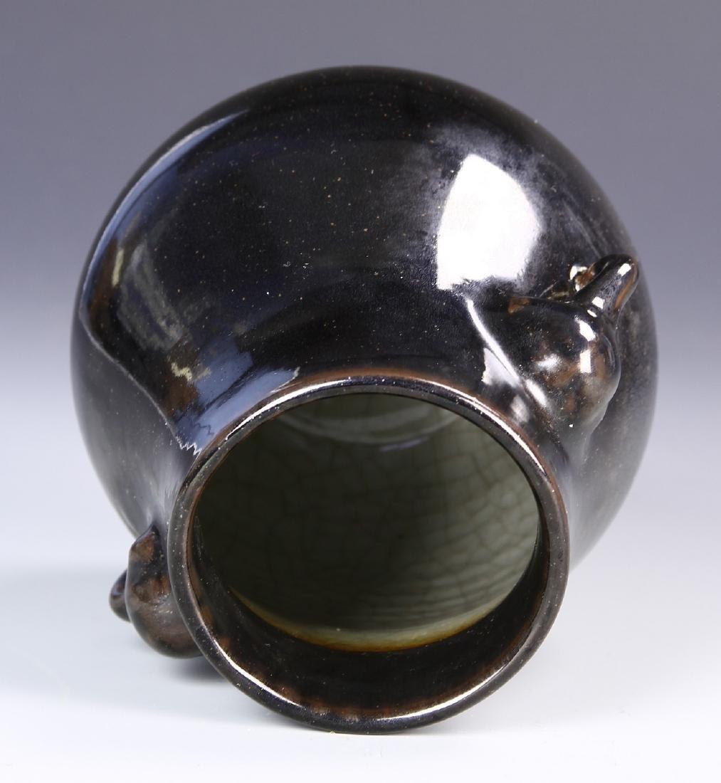 Chinese Black Glaze Elephant Vase - 3