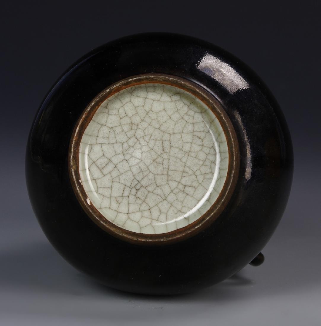 Chinese Black Glaze Elephant Vase - 4