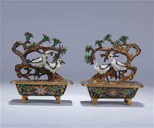 PAIR OF CHINESE CLOISONNE MINIASCAPES OF PINE TREE AND