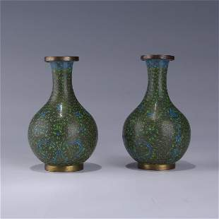 PAIR OF CHINESE CLOISONNE GREEN  VASES