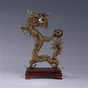 A GOLD PLATING DRAGON CAST WITH  SILVER  FILIGREE