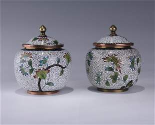 PAIR OF CHINESE CLOISONNE BRONZE COVERED TEA CADDY