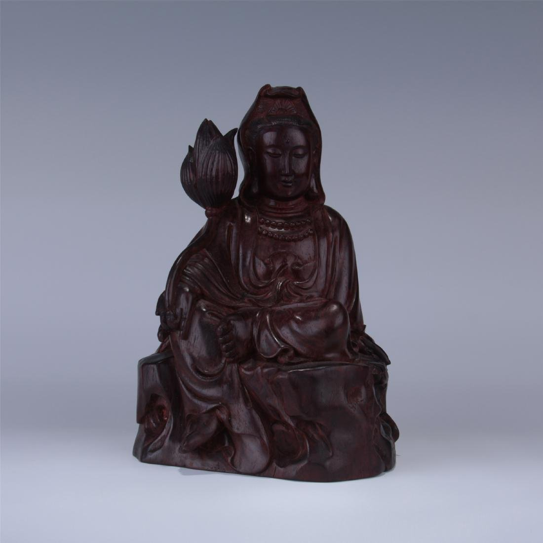 FINE CHINESE BOXWOOD CARVED STATUE - GUANYIN