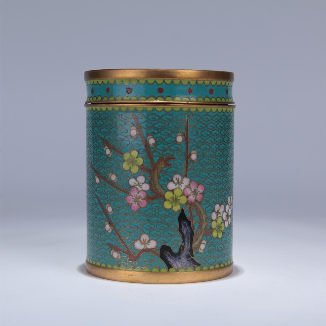 CHINESE CLOISONNE ENAMEL TEA CADDY