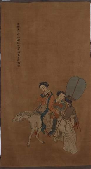 EXQUISITE CHINESE SILK KESI (K'o'ssu) PANEL