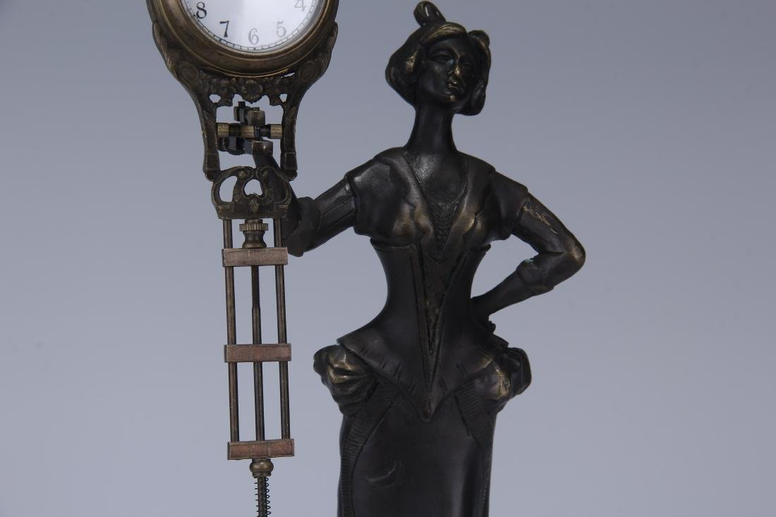 CAST METAL FIGURAL GERMAN SWING ARM CLOCK - 3