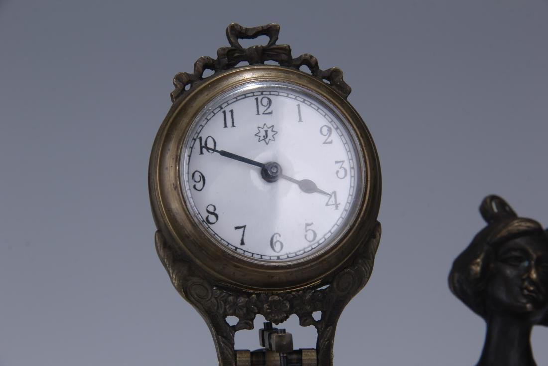 CAST METAL FIGURAL GERMAN SWING ARM CLOCK - 5