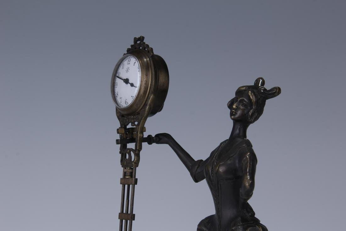 CAST METAL FIGURAL GERMAN SWING ARM CLOCK - 6