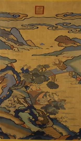 CHINESE LANDSCAPE SILK KESI PANEL