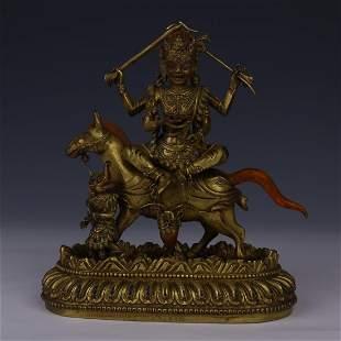THREE EYES GILT BRONZE VAISHRAVANA  BUDDHA STATUE