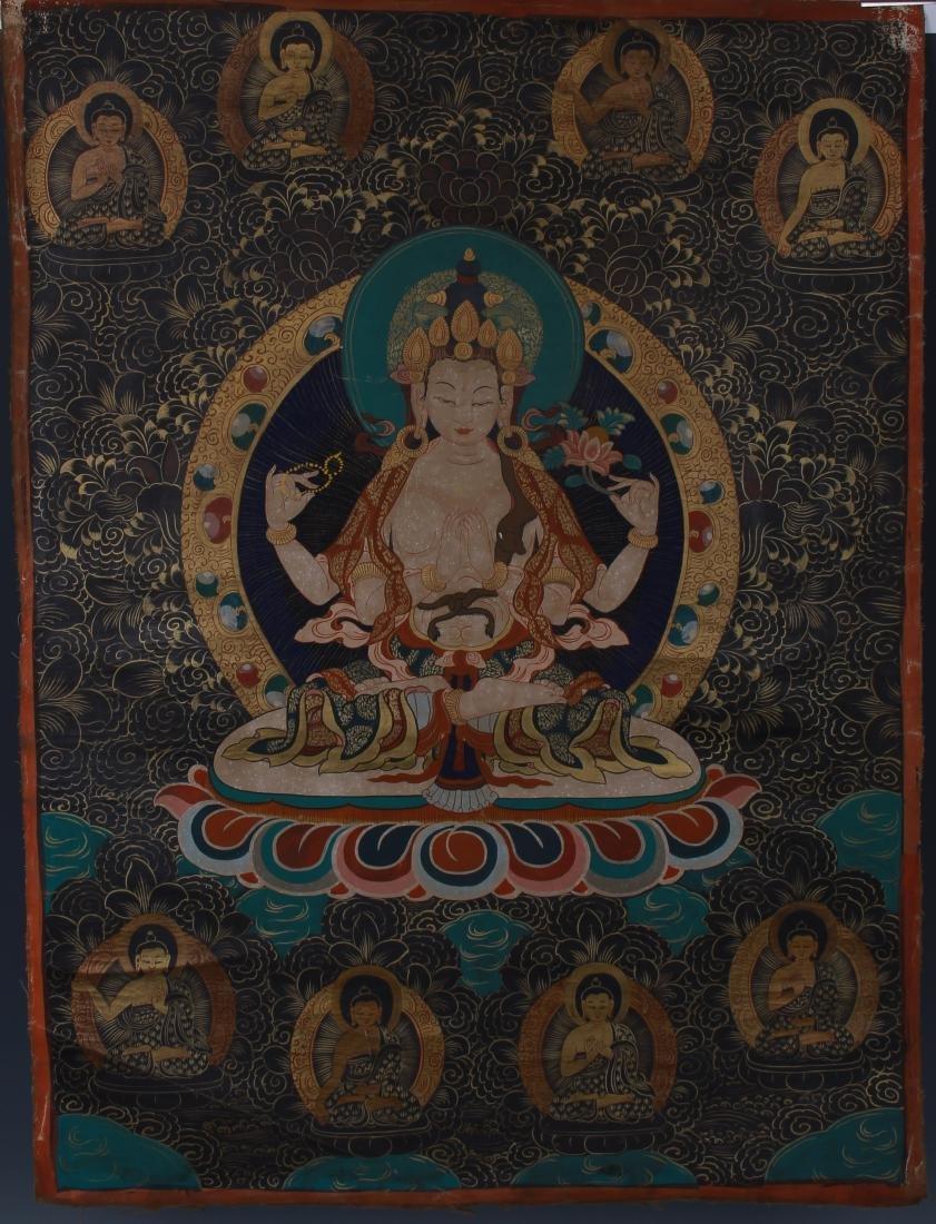 TIBETAN THANGKA OF SEATED BUDDHAS