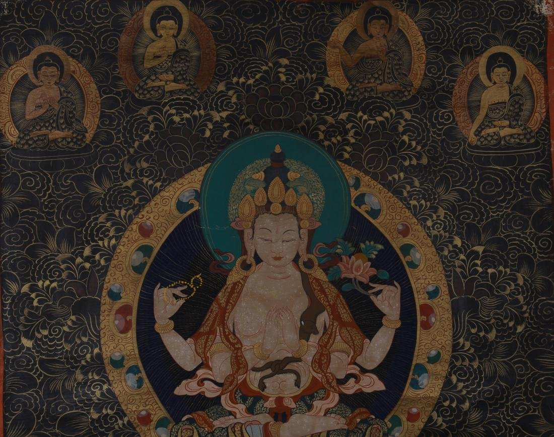 TIBETAN THANGKA OF SEATED BUDDHAS - 2