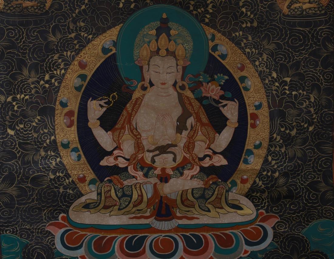 TIBETAN THANGKA OF SEATED BUDDHAS - 3