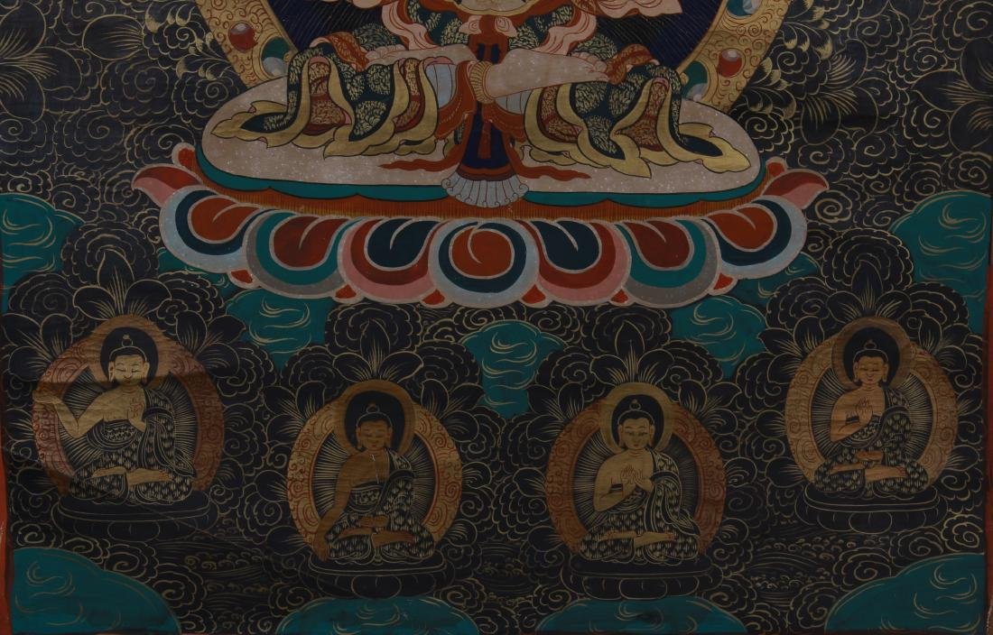 TIBETAN THANGKA OF SEATED BUDDHAS - 4