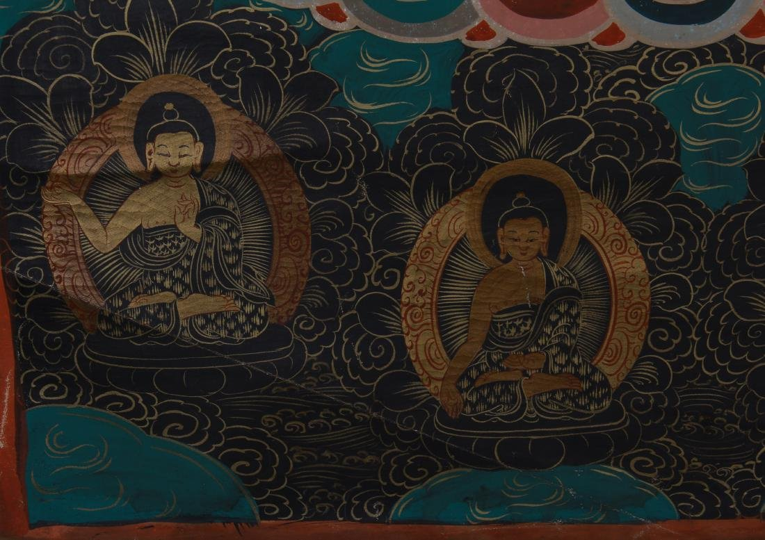 TIBETAN THANGKA OF SEATED BUDDHAS - 7