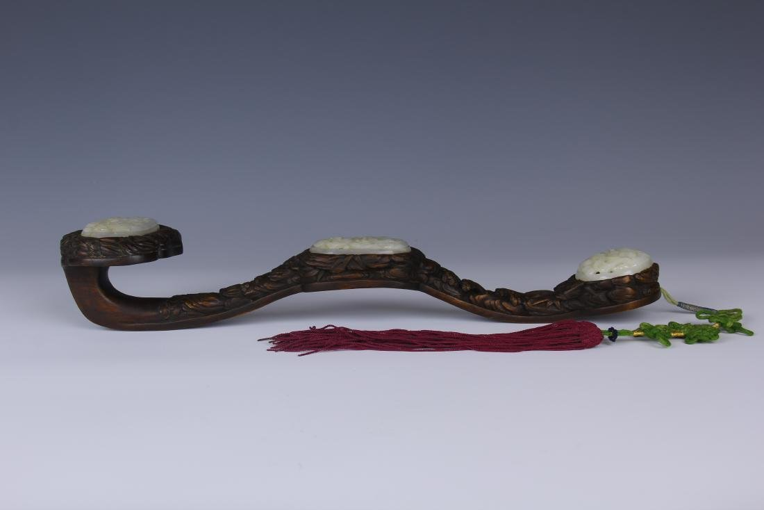 A CHENXIANG WOOD RUYI SCEPTER WITH HETIAN JADE INSERTED - 5
