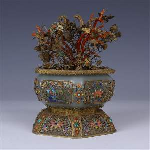 CELADON JADE AND CORAL FLOWER VASE WITH GILT SILVER