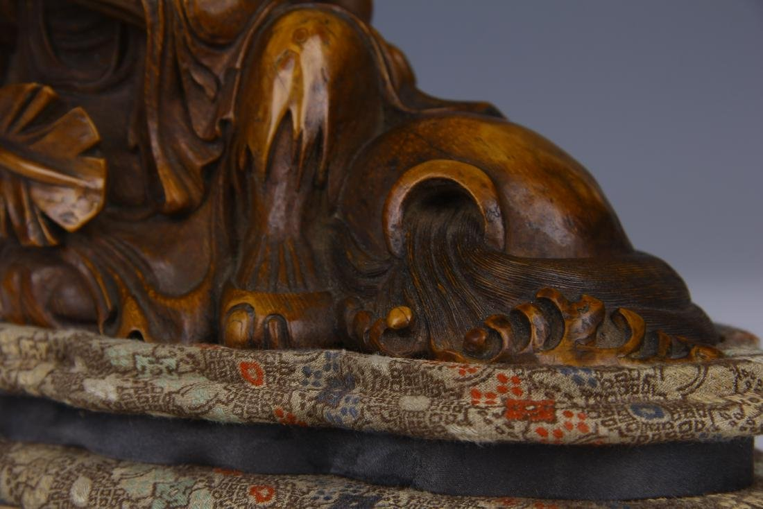 CHINESE CARVED BAMBOO RECUMBENT ARHAT ON STAND - 8