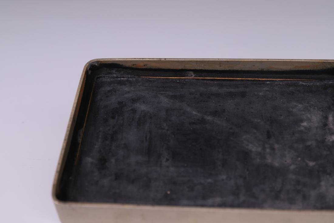 A COPPER INKPAD BOX WITH INSCRIPTION - 10
