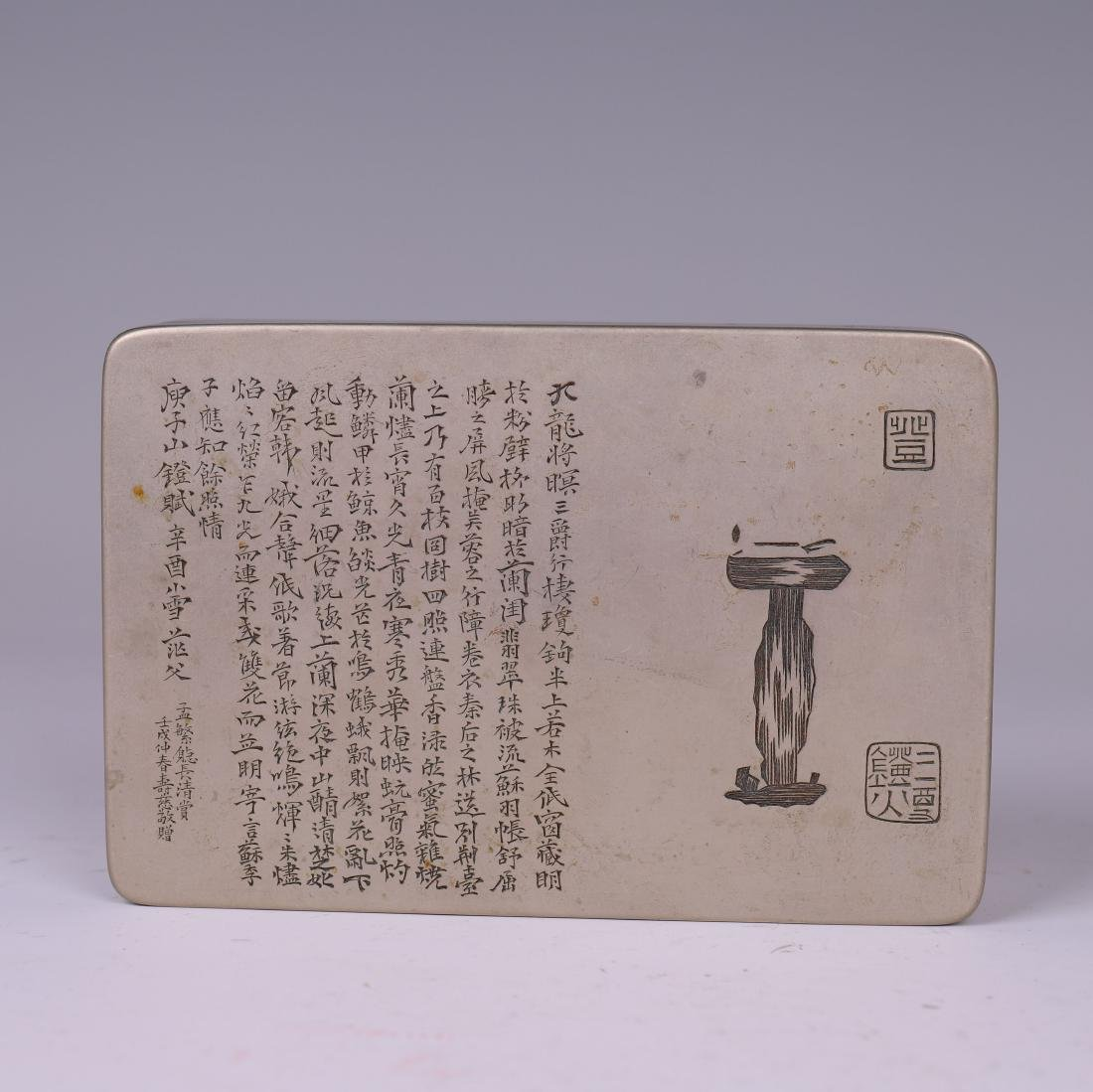 A COPPER INKPAD BOX WITH INSCRIPTION