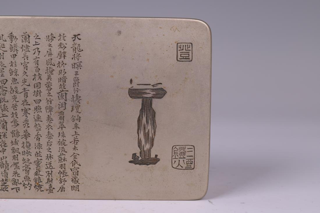 A COPPER INKPAD BOX WITH INSCRIPTION - 3