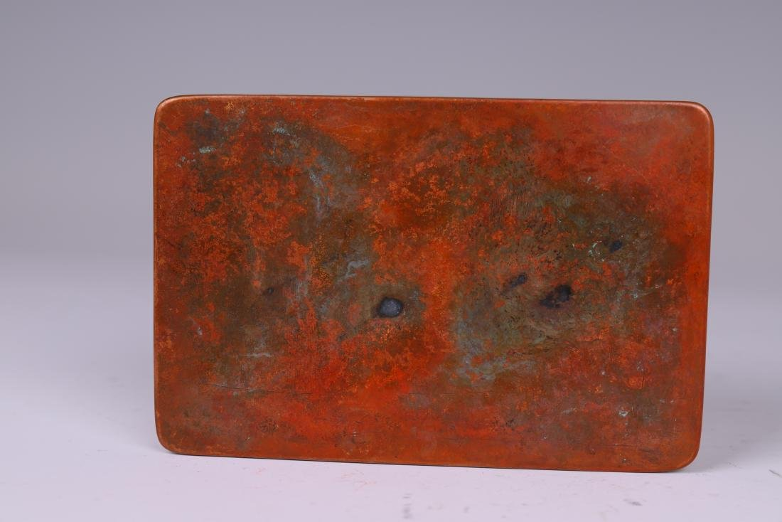 A COPPER INKPAD BOX WITH INSCRIPTION - 4