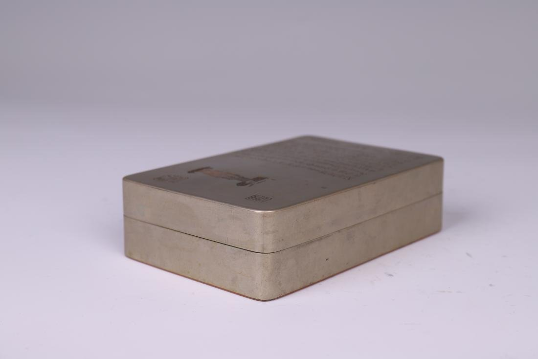 A COPPER INKPAD BOX WITH INSCRIPTION - 5