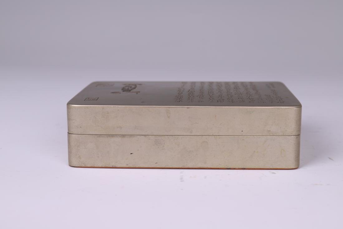 A COPPER INKPAD BOX WITH INSCRIPTION - 6
