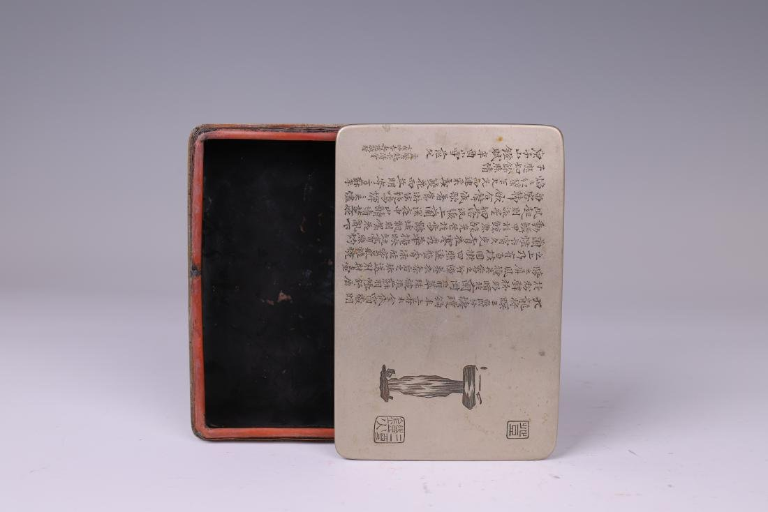 A COPPER INKPAD BOX WITH INSCRIPTION - 8