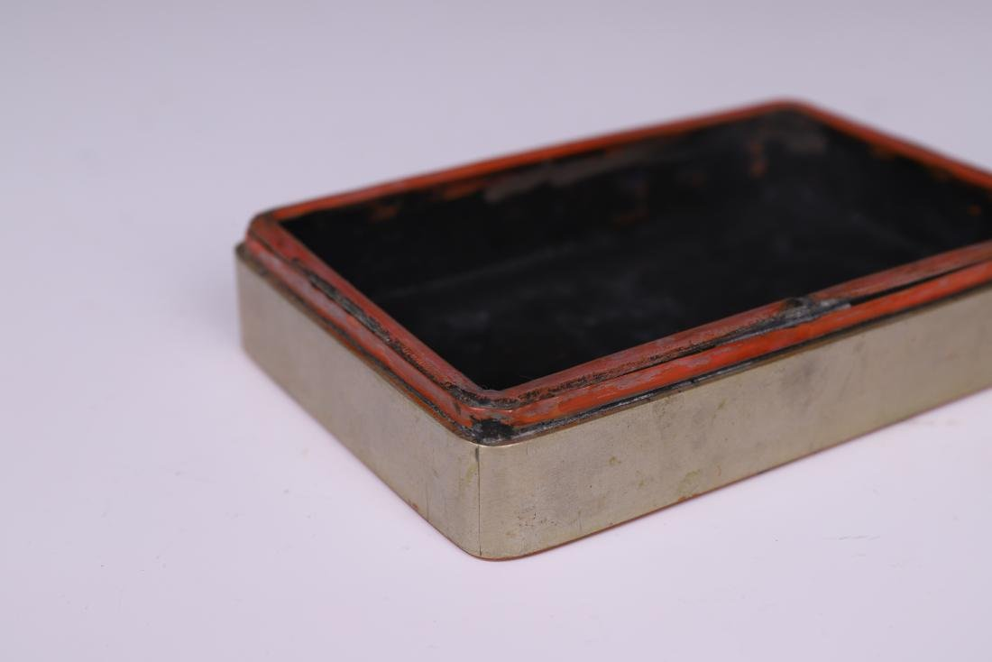 A COPPER INKPAD BOX WITH INSCRIPTION - 9